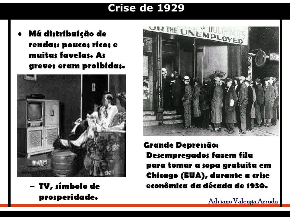 Crise de 1929 Adriano Valenga Arruda Má distribuição de rendas: poucos ricos e muitas favelas.