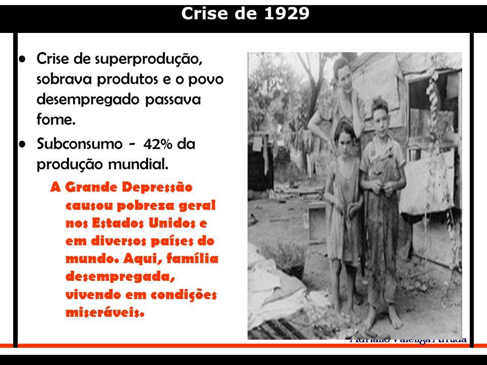 Crise de 1929 Adriano Valenga Arruda Crise de superprodução, sobrava produtos e o povo desempregado passava fome.