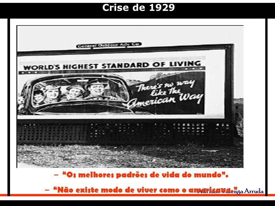 Crise de 1929 Adriano Valenga Arruda – Os melhores padrões de vida do mundo.