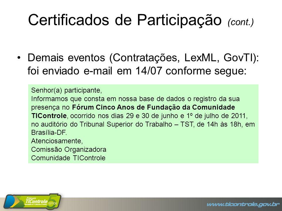 Demais eventos (Contratações, LexML, GovTI): foi enviado e-mail em 14/07 conforme segue: Senhor(a) participante, Informamos que consta em nossa base de dados o registro da sua presença no Fórum Cinco Anos de Fundação da Comunidade TIControle, ocorrido nos dias 29 e 30 de junho e 1º de julho de 2011, no auditório do Tribunal Superior do Trabalho – TST, de 14h às 18h, em Brasília-DF.