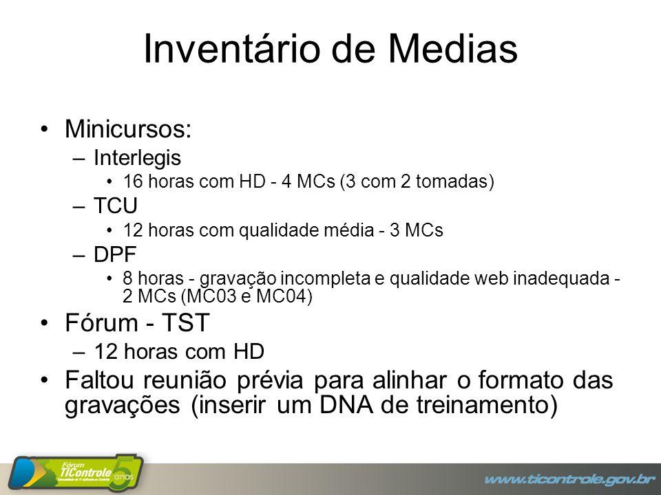 Inventário de Medias Minicursos: –Interlegis 16 horas com HD - 4 MCs (3 com 2 tomadas) –TCU 12 horas com qualidade média - 3 MCs –DPF 8 horas - gravaç