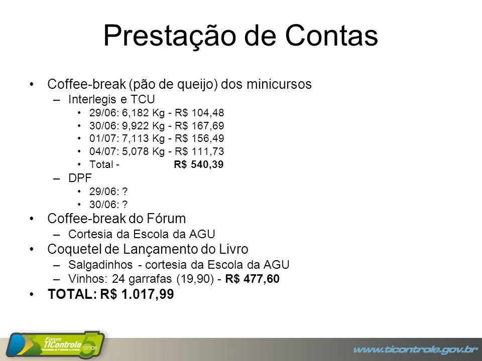 Prestação de Contas Coffee-break (pão de queijo) dos minicursos –Interlegis e TCU 29/06: 6,182 Kg - R$ 104,48 30/06: 9,922 Kg - R$ 167,69 01/07: 7,113 Kg - R$ 156,49 04/07: 5,078 Kg - R$ 111,73 Total - R$ 540,39 –DPF 29/06: .