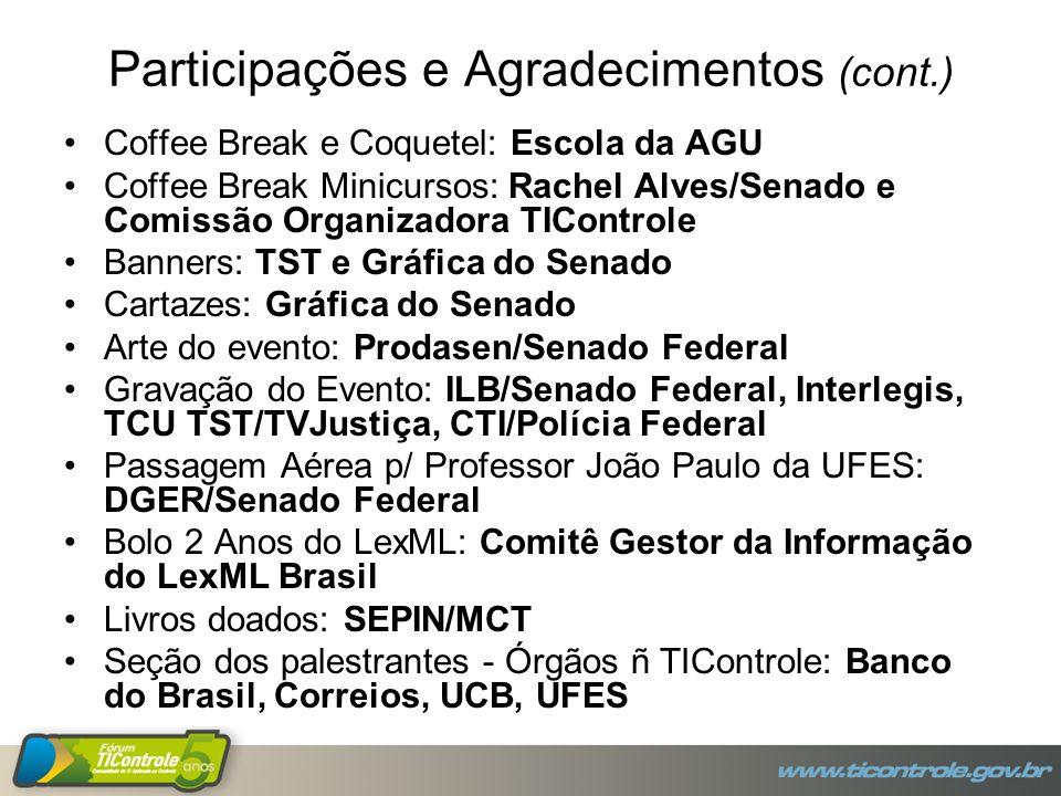 Participações e Agradecimentos (cont.) Coffee Break e Coquetel: Escola da AGU Coffee Break Minicursos: Rachel Alves/Senado e Comissão Organizadora TIC
