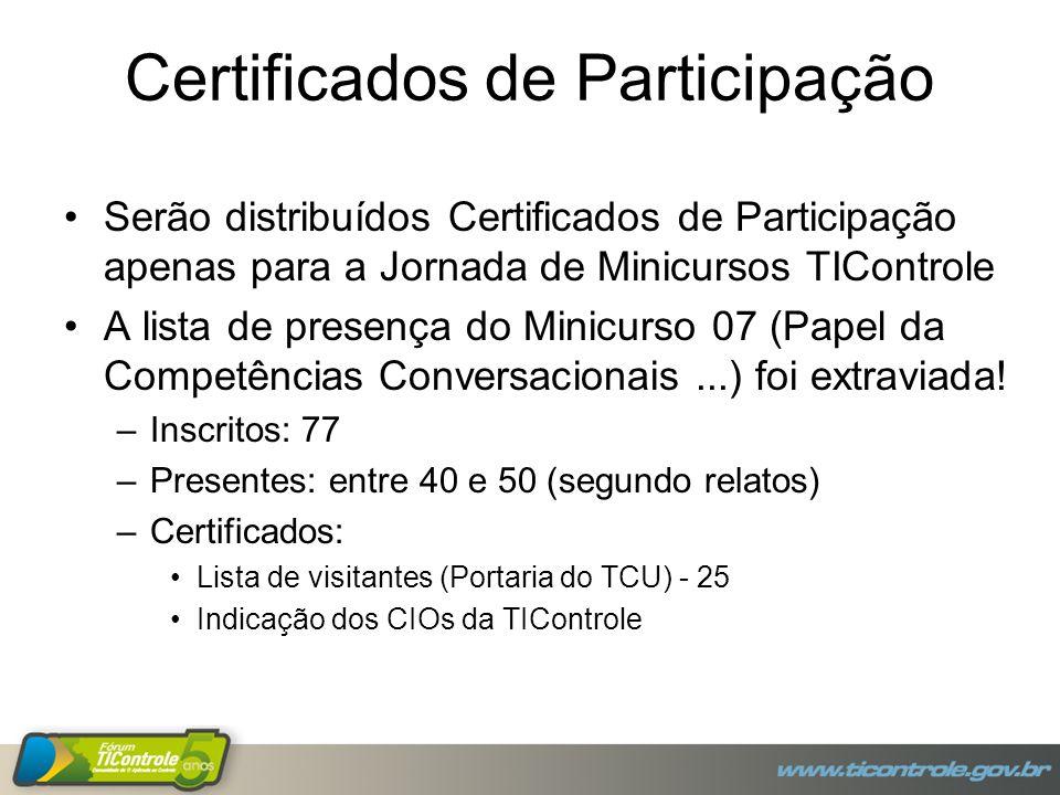 Certificados de Participação Serão distribuídos Certificados de Participação apenas para a Jornada de Minicursos TIControle A lista de presença do Minicurso 07 (Papel da Competências Conversacionais...) foi extraviada.