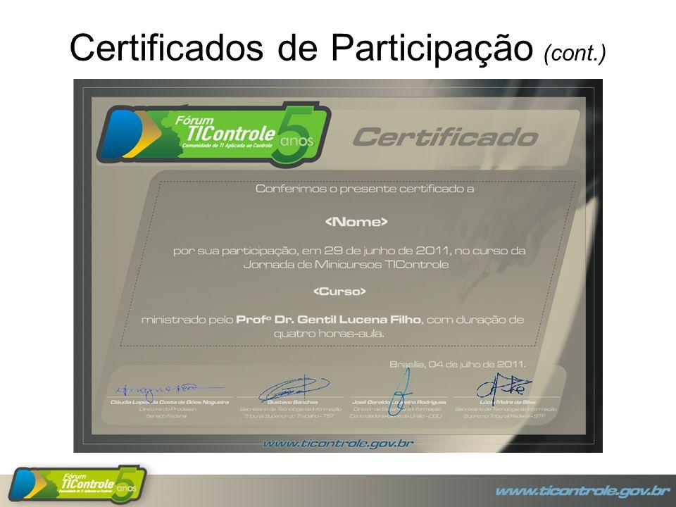 Certificados de Participação (cont.)
