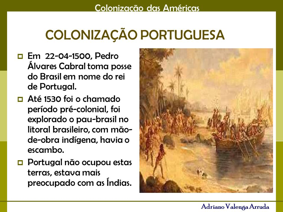 Colonização das Américas Adriano Valenga Arruda Período de invasões de franceses, ingleses, holandeses e espanhóis.