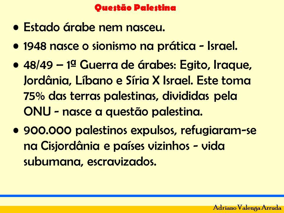 Questão Palestina Adriano Valenga Arruda Estado árabe nem nasceu. 1948 nasce o sionismo na prática - Israel. 48/49 – 1ª Guerra de árabes: Egito, Iraqu