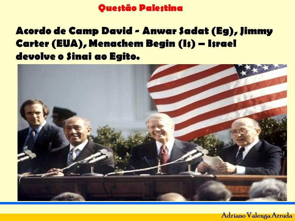 Questão Palestina Adriano Valenga Arruda Acordo de Camp David - Anwar Sadat (Eg), Jimmy Carter (EUA), Menachem Begin (Is) – Israel devolve o Sinai ao