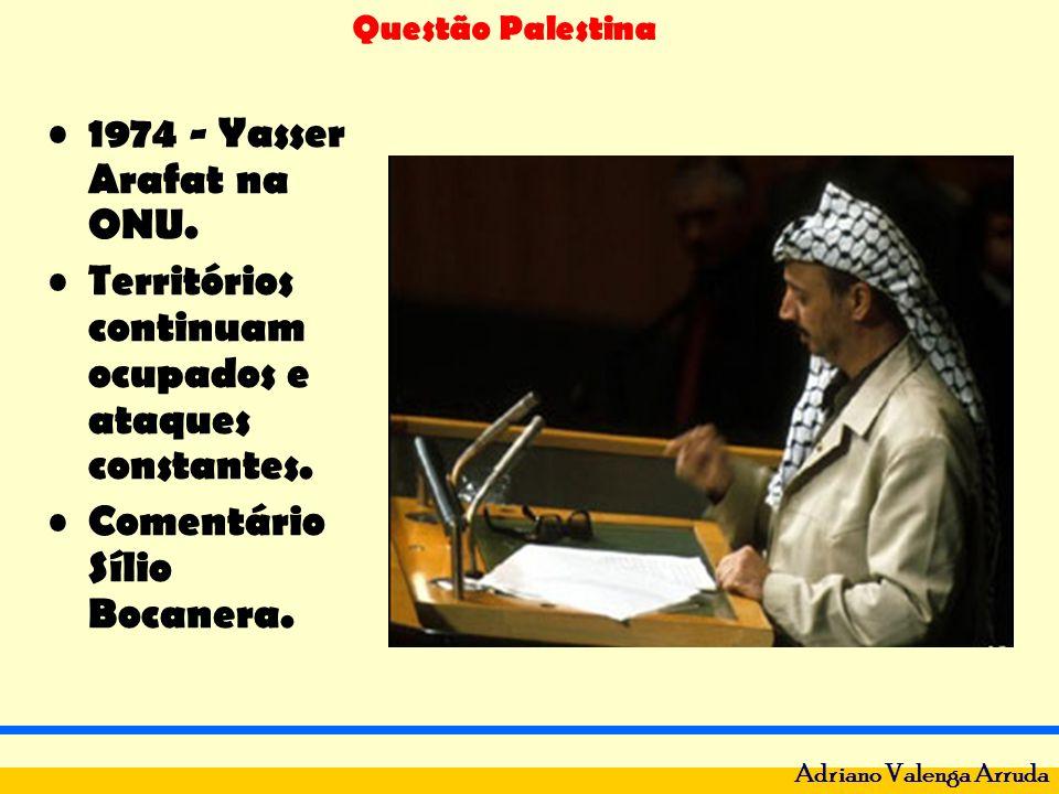 Questão Palestina Adriano Valenga Arruda 1974 - Yasser Arafat na ONU. Territórios continuam ocupados e ataques constantes. Comentário Sílio Bocanera.