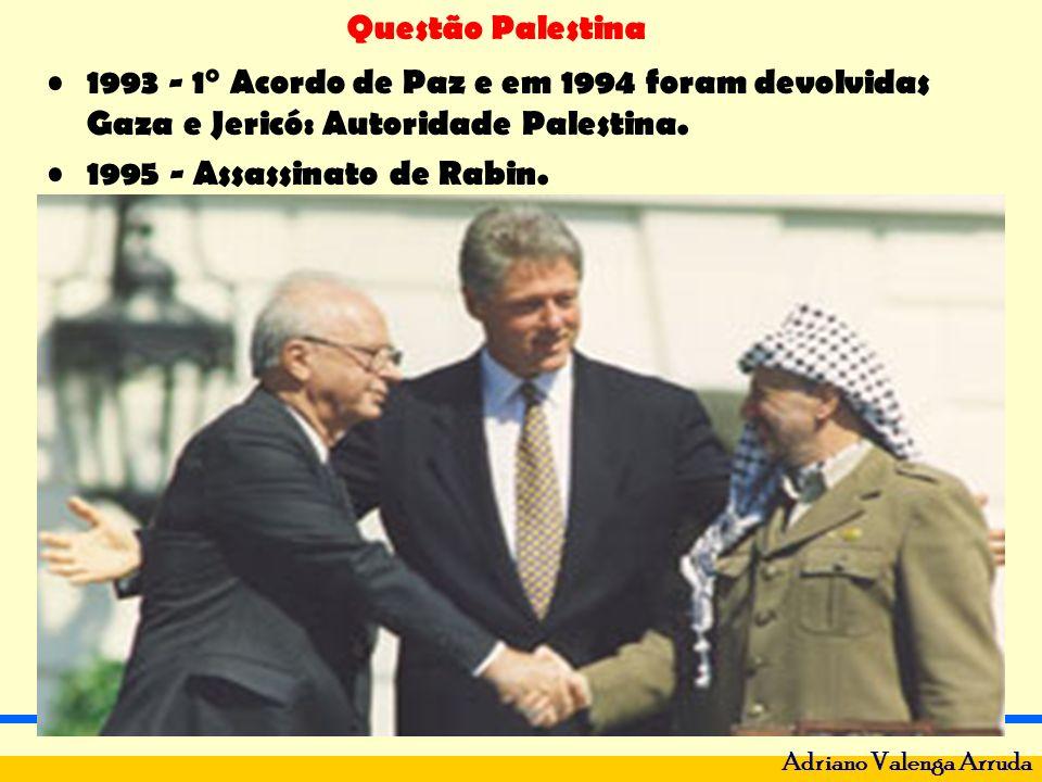 Questão Palestina Adriano Valenga Arruda 1993 - 1° Acordo de Paz e em 1994 foram devolvidas Gaza e Jericó: Autoridade Palestina. 1995 - Assassinato de
