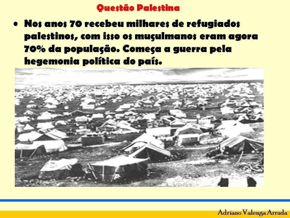 Questão Palestina Adriano Valenga Arruda Nos anos 70 recebeu milhares de refugiados palestinos, com isso os muçulmanos eram agora 70% da população. Co