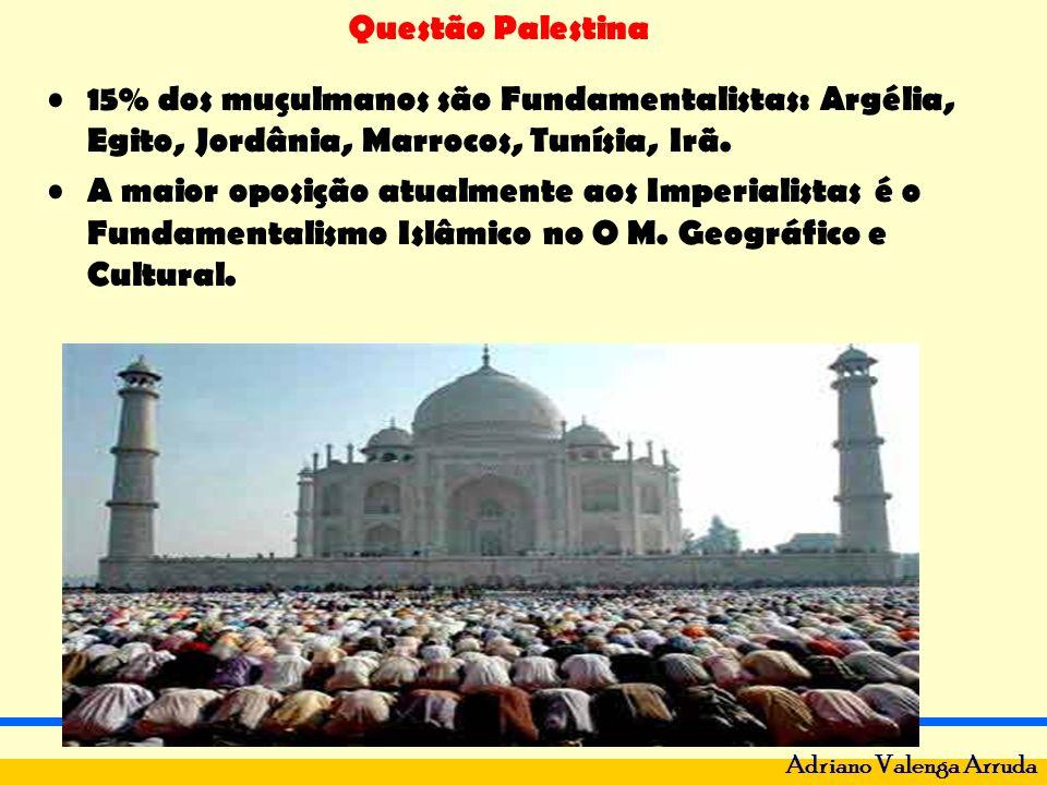 Questão Palestina Adriano Valenga Arruda 15% dos muçulmanos são Fundamentalistas: Argélia, Egito, Jordânia, Marrocos, Tunísia, Irã. A maior oposição a