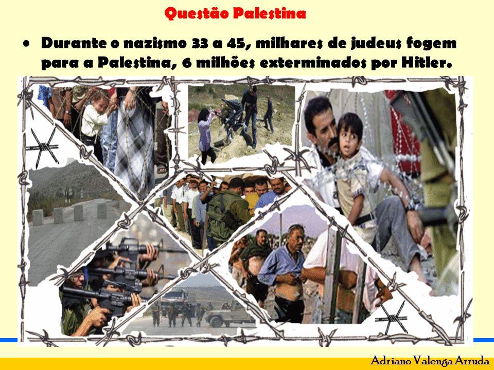 Questão Palestina Adriano Valenga Arruda Durante o nazismo 33 a 45, milhares de judeus fogem para a Palestina, 6 milhões exterminados por Hitler.