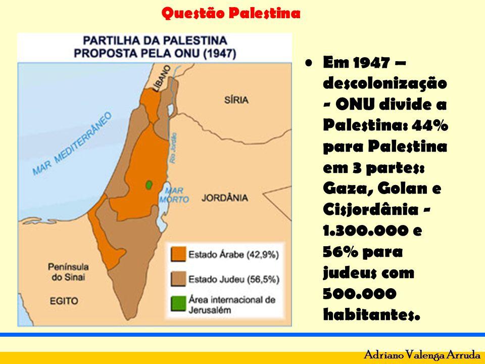 Questão Palestina Adriano Valenga Arruda Em 1947 – descolonização - ONU divide a Palestina: 44% para Palestina em 3 partes: Gaza, Golan e Cisjordânia