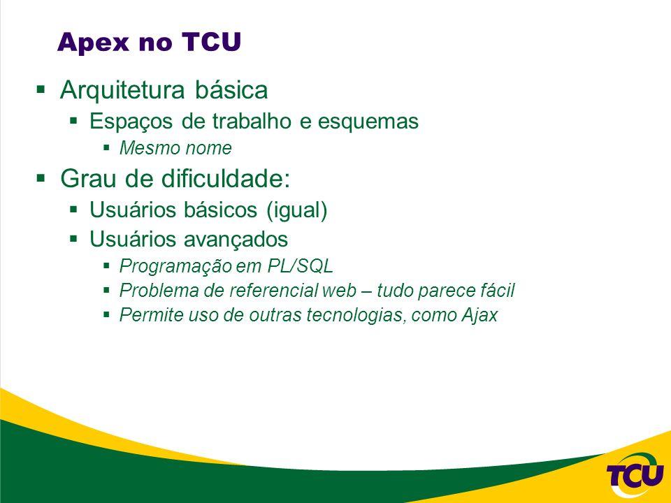 Apex no TCU Arquitetura básica Espaços de trabalho e esquemas Mesmo nome Grau de dificuldade: Usuários básicos (igual) Usuários avançados Programação em PL/SQL Problema de referencial web – tudo parece fácil Permite uso de outras tecnologias, como Ajax