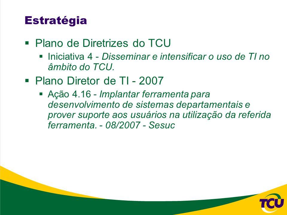 Estratégia Plano de Diretrizes do TCU Iniciativa 4 - Disseminar e intensificar o uso de TI no âmbito do TCU.