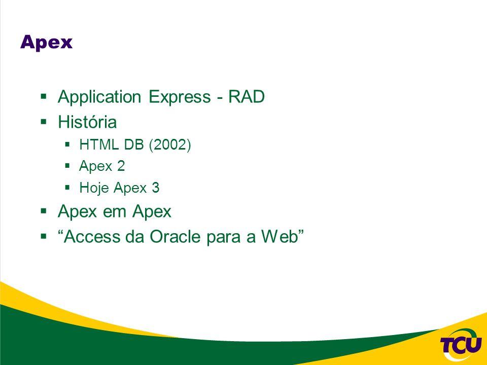 Apex Application Express - RAD História HTML DB (2002) Apex 2 Hoje Apex 3 Apex em Apex Access da Oracle para a Web
