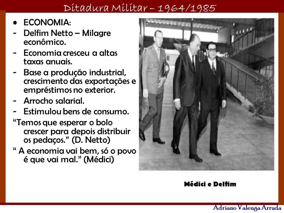 Ditadura Militar – 1964/1985 Adriano Valenga Arruda ECONOMIA: -Delfim Netto – Milagre econômico. -Economia cresceu a altas taxas anuais. -Base a produ