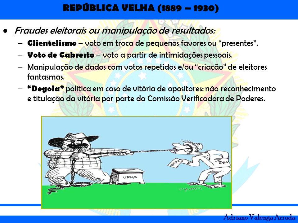 REPÚBLICA VELHA (1889 – 1930) Adriano Valenga Arruda Fraudes eleitorais ou manipulação de resultados: – Clientelismo – voto em troca de pequenos favor