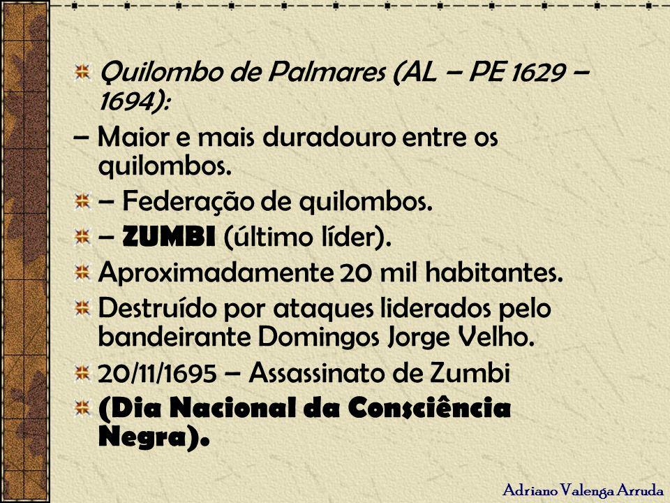Adriano Valenga Arruda Quilombo de Palmares (AL – PE 1629 – 1694): – Maior e mais duradouro entre os quilombos. – Federação de quilombos. – ZUMBI (últ