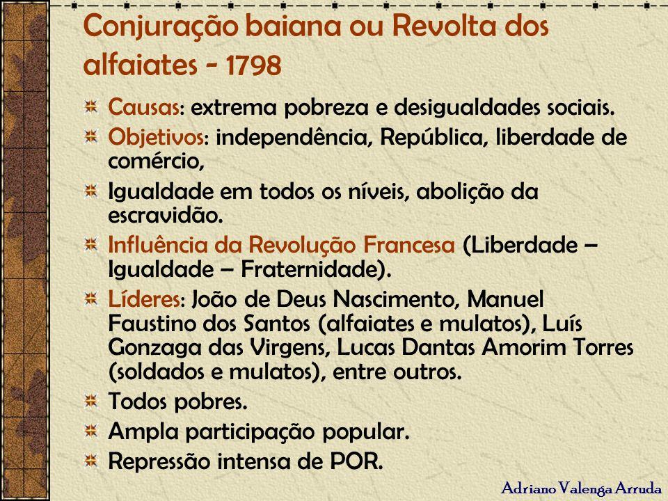 Conjuração baiana ou Revolta dos alfaiates - 1798 Causas: extrema pobreza e desigualdades sociais. Objetivos: independência, República, liberdade de c