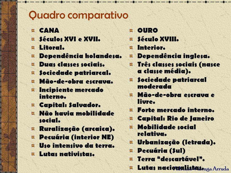 Adriano Valenga Arruda Quadro comparativo CANA Séculos XVI e XVII. Litoral. Dependência holandesa. Duas classes sociais. Sociedade patriarcal. Mão-de-