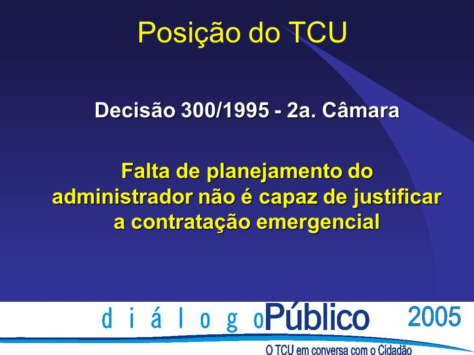 Posição do TCU Decisão 300/1995 - 2a.