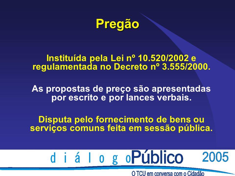 Pregão Instituída pela Lei nº 10.520/2002 e regulamentada no Decreto nº 3.555/2000.