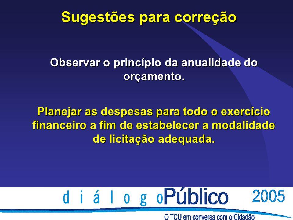 Sugestões para correção Observar o princípio da anualidade do orçamento.