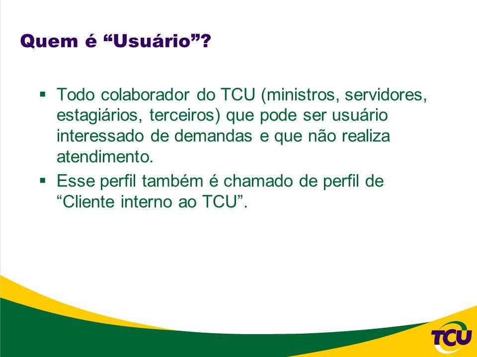 Quem é Usuário? Todo colaborador do TCU (ministros, servidores, estagiários, terceiros) que pode ser usuário interessado de demandas e que não realiza