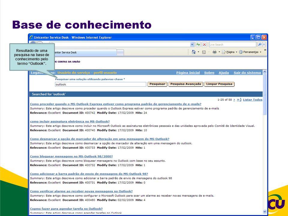 Base de conhecimento Resultado de uma pesquisa na base de conhecimento pelo termo Outlook.