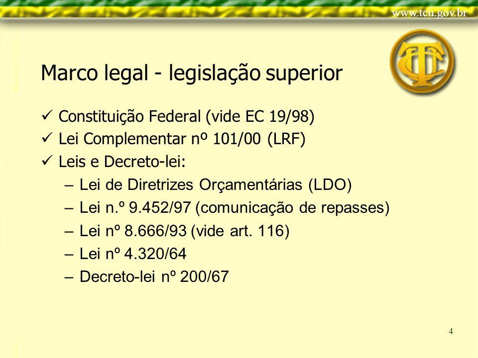 Clique para editar o estilo do título mestre Clique para editar os estilos do texto mestre Segundo nível Terceiro nível Quarto nível Quinto nível 4 Marco legal - legislação superior Constituição Federal (vide EC 19/98) Lei Complementar nº 101/00 (LRF) Leis e Decreto-lei: –Lei de Diretrizes Orçamentárias (LDO) –Lei n.º 9.452/97 (comunicação de repasses) –Lei nº 8.666/93 (vide art.