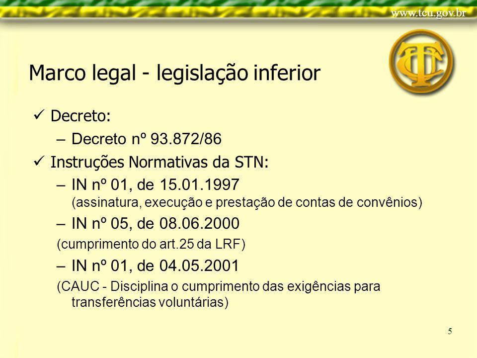 Clique para editar o estilo do título mestre Clique para editar os estilos do texto mestre Segundo nível Terceiro nível Quarto nível Quinto nível 5 Marco legal - legislação inferior Decreto: –Decreto nº 93.872/86 Instruções Normativas da STN: –IN nº 01, de 15.01.1997 (assinatura, execução e prestação de contas de convênios) –IN nº 05, de 08.06.2000 (cumprimento do art.25 da LRF) –IN nº 01, de 04.05.2001 (CAUC - Disciplina o cumprimento das exigências para transferências voluntárias)