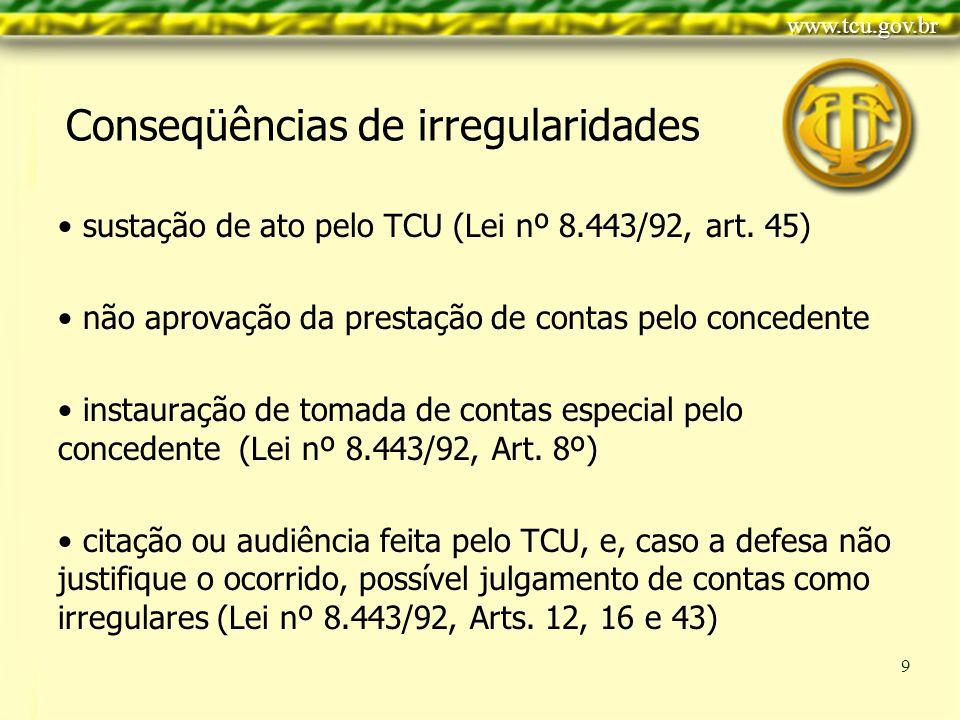 Clique para editar o estilo do título mestre Clique para editar os estilos do texto mestre Segundo nível Terceiro nível Quarto nível Quinto nível 9 Conseqüências de irregularidades sustação de ato pelo TCU (Lei nº 8.443/92, art.
