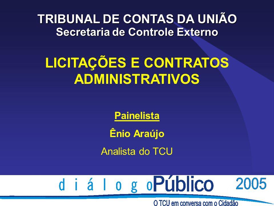 LICITAÇÕES E CONTRATOS ADMINISTRATIVOS Painelista Ênio Araújo Analista do TCU TRIBUNAL DE CONTAS DA UNIÃO Secretaria de Controle Externo
