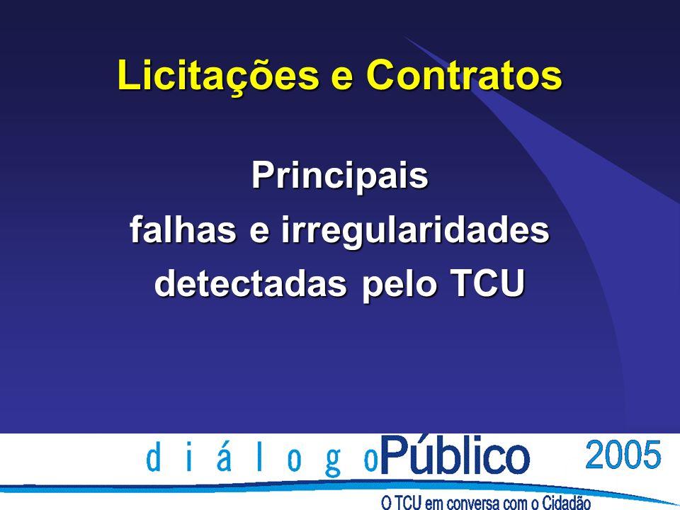 Licitações e Contratos Principais falhas e irregularidades detectadas pelo TCU
