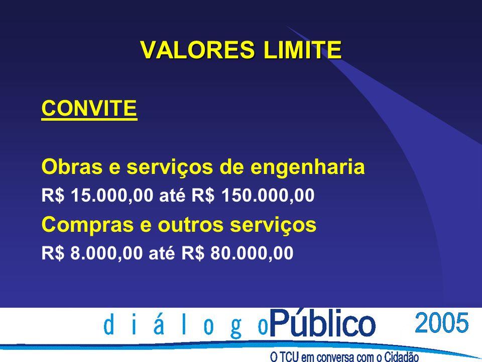 VALORES LIMITE CONVITE Obras e serviços de engenharia R$ 15.000,00 até R$ 150.000,00 Compras e outros serviços R$ 8.000,00 até R$ 80.000,00