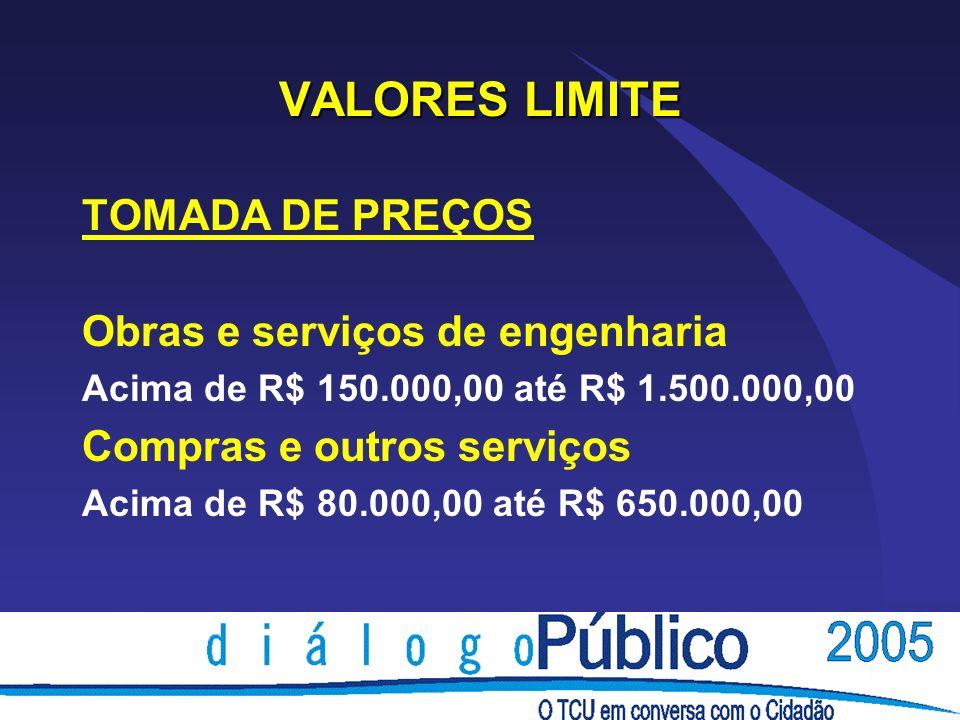 VALORES LIMITE TOMADA DE PREÇOS Obras e serviços de engenharia Acima de R$ 150.000,00 até R$ 1.500.000,00 Compras e outros serviços Acima de R$ 80.000