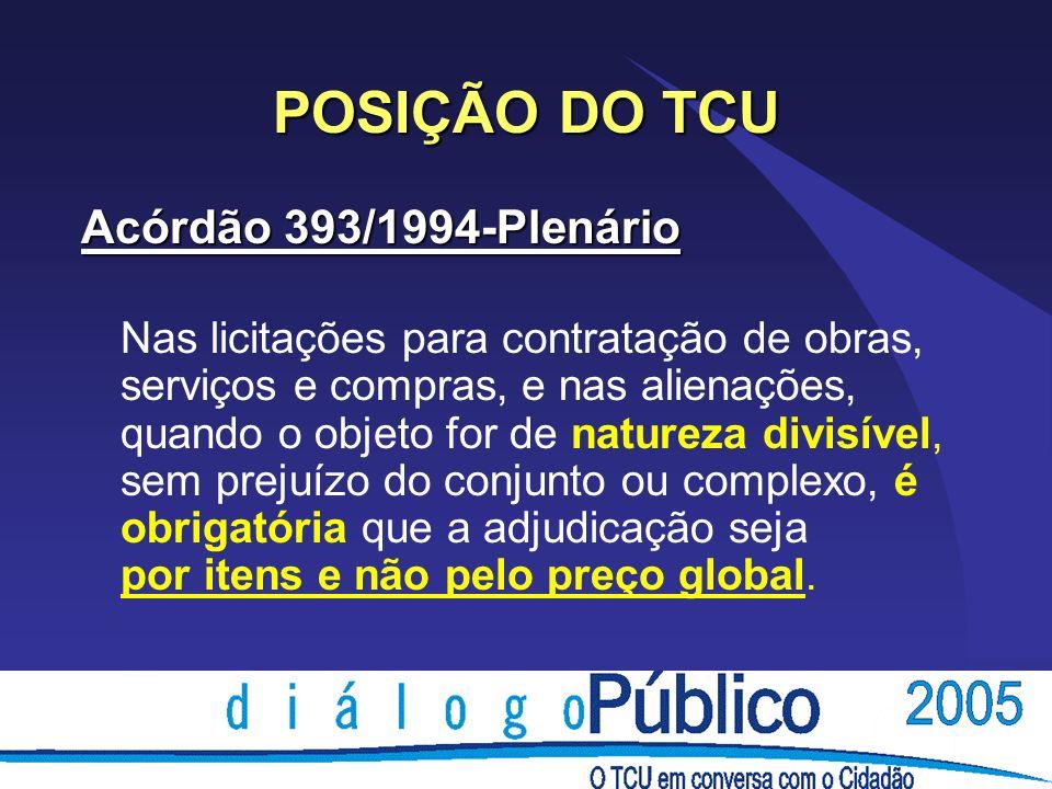 POSIÇÃO DO TCU Acórdão 393/1994-Plenário Nas licitações para contratação de obras, serviços e compras, e nas alienações, quando o objeto for de nature