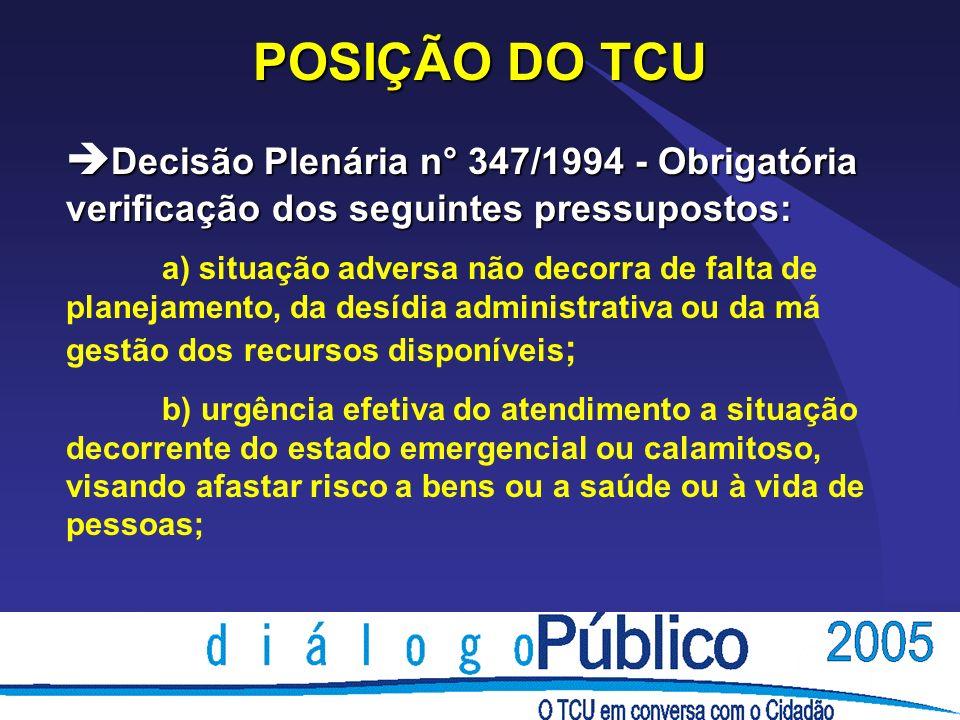 POSIÇÃO DO TCU è Decisão Plenária n° 347/1994 - Obrigatória verificação dos seguintes pressupostos: a) situação adversa não decorra de falta de planej