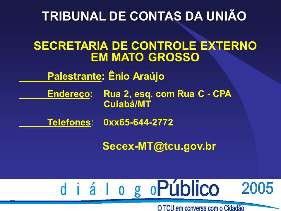 TRIBUNAL DE CONTAS DA UNIÃO SECRETARIA DE CONTROLE EXTERNO EM MATO GROSSO Palestrante: Ênio Araújo Endereço: Rua 2, esq. com Rua C - CPA Cuiabá/MT Tel