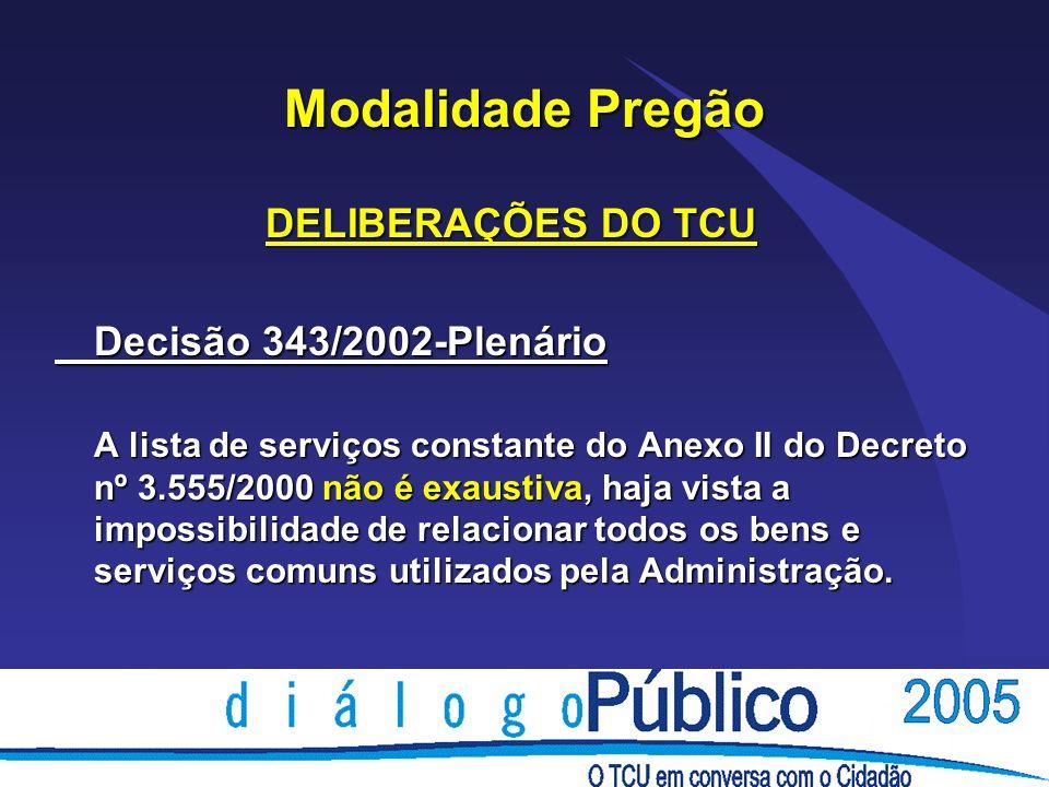 Modalidade Pregão DELIBERAÇÕES DO TCU Decisão 343/2002-Plenário A lista de serviços constante do Anexo II do Decreto nº 3.555/2000 não é exaustiva, ha