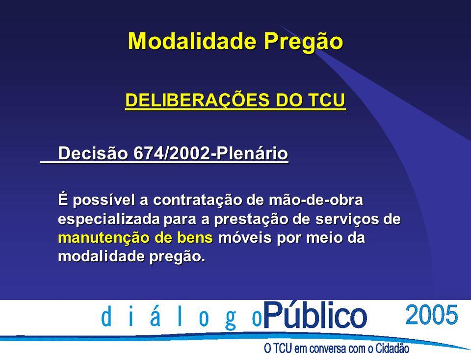 Modalidade Pregão DELIBERAÇÕES DO TCU Decisão 674/2002-Plenário É possível a contratação de mão-de-obra especializada para a prestação de serviços de