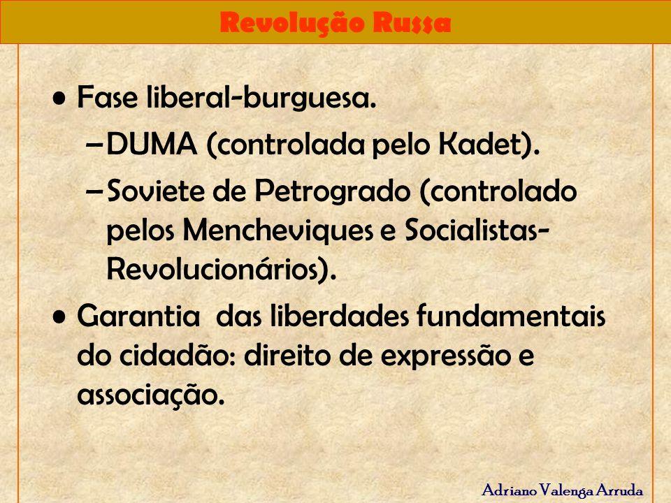 Revolução Russa Adriano Valenga Arruda Fase liberal-burguesa. –DUMA (controlada pelo Kadet). –Soviete de Petrogrado (controlado pelos Mencheviques e S