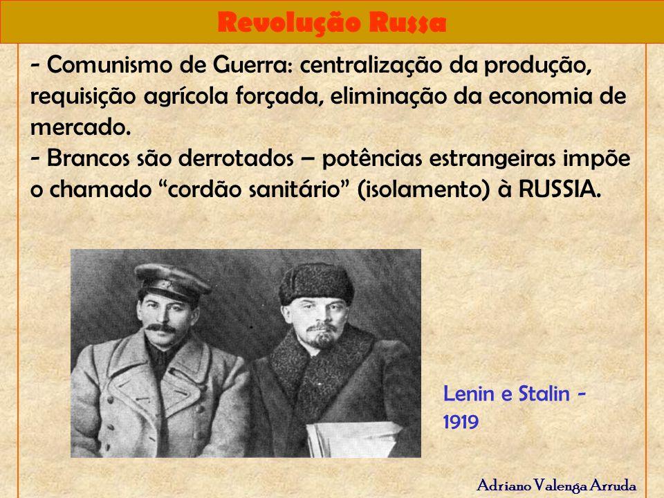 Revolução Russa Adriano Valenga Arruda - Comunismo de Guerra: centralização da produção, requisição agrícola forçada, eliminação da economia de mercad