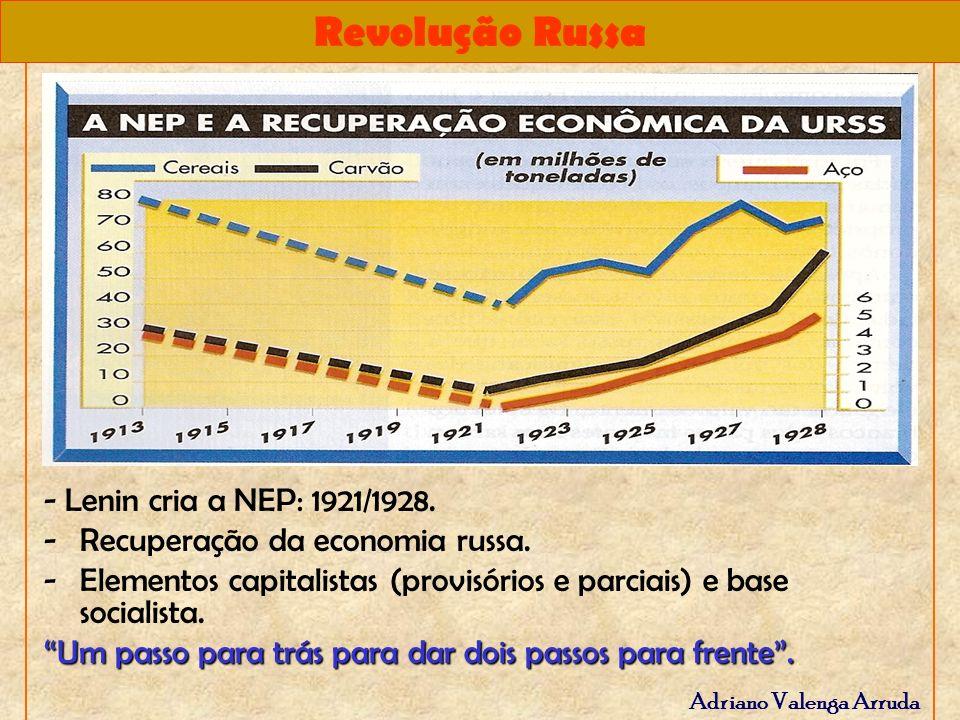 Revolução Russa Adriano Valenga Arruda - Lenin cria a NEP: 1921/1928. -Recuperação da economia russa. -Elementos capitalistas (provisórios e parciais)