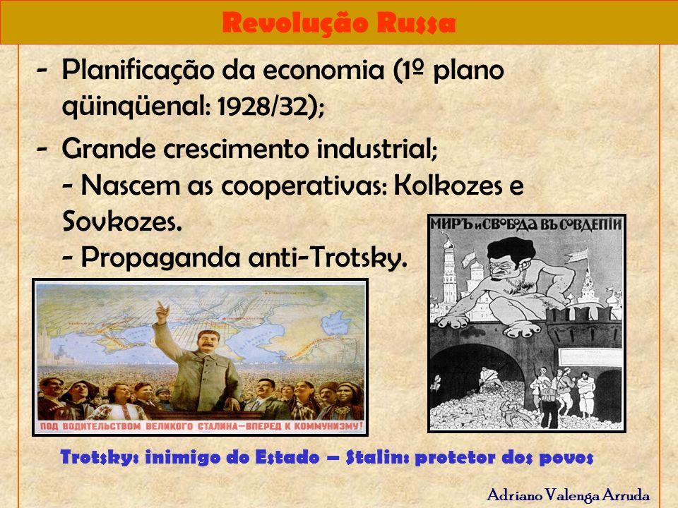 Revolução Russa Adriano Valenga Arruda -Planificação da economia (1º plano qüinqüenal: 1928/32); -Grande crescimento industrial; - Nascem as cooperati