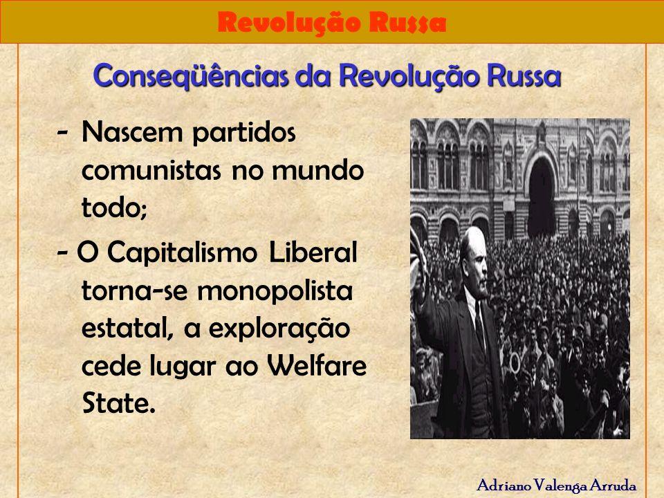 Revolução Russa Adriano Valenga Arruda Conseqüências da Revolução Russa -Nascem partidos comunistas no mundo todo; - O Capitalismo Liberal torna-se mo