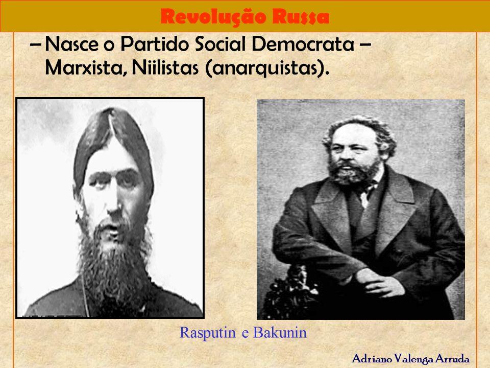 Revolução Russa Adriano Valenga Arruda –Nasce o Partido Social Democrata – Marxista, Niilistas (anarquistas). Rasputin e Bakunin
