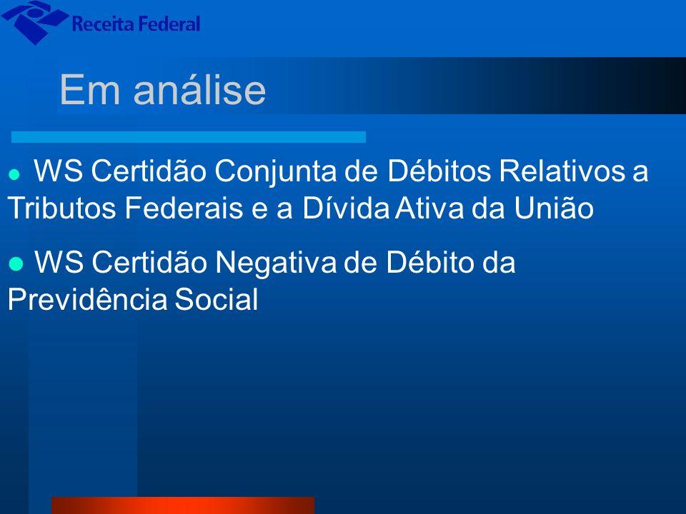 Em análise WS Certidão Conjunta de Débitos Relativos a Tributos Federais e a Dívida Ativa da União WS Certidão Negativa de Débito da Previdência Socia